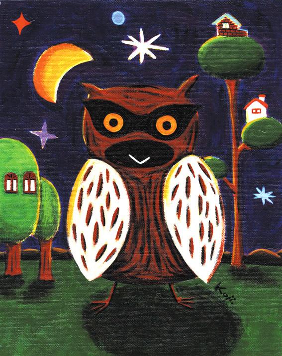 1999年、個展オリジナル「泥棒フクロウは月をつれて現れる。丸見え」