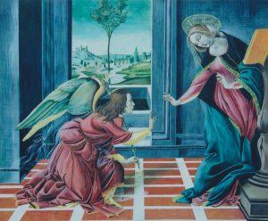 テンペラ模写作品  ボッティチェリの受胎告知