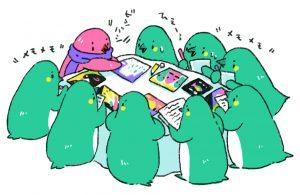 □合評会□  まず生徒同士で感想をスケッチブックに書き合い、それから先生のありがたいお言葉をいただきます。先生 の的確なアドバイスにみんな怯えつつもとても勉 強になるお言葉をいっぱいいただきました。評価 を受けてる最中は他の生徒がメモをとって終わり に渡してくれます。